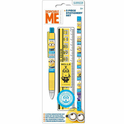 DESPICABLE ME MINIONS 5 Piece STATIONERY SET Pen Pencil Ruler Eraser Sharpener