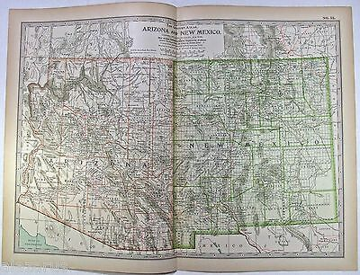 Original 1897 Map of Arizona & New Mexico by The Century Company