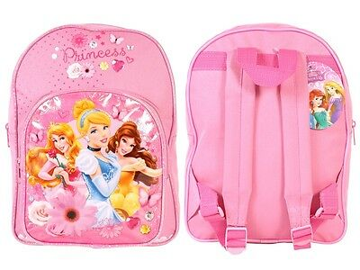 Disney Princess 3 Princesses Girls Pink Backpack Bag Belle Cinderella Beauty
