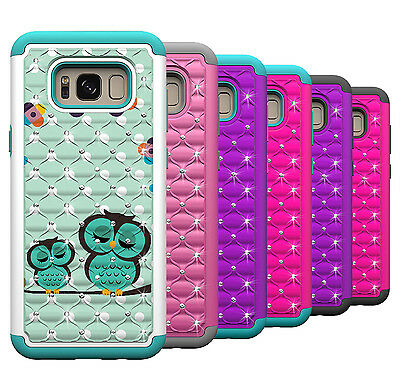 For Samsung Galaxy S8 Phone Case Hard & Soft Silicone Hybrid Diamond Bling Cover