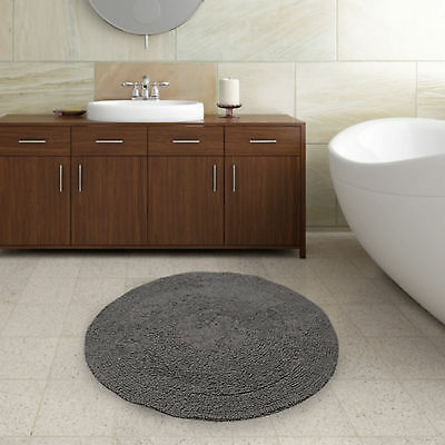 Plain Round Bath Mat - Charcoal Grey - 100% Cotton - Thick Soft & Washable