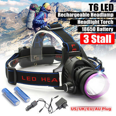 15000LM T6 LED Zoomable Headlamp Headlight Head Light Lamp Torch 18650 Charger
