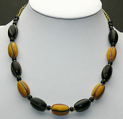 Afrika Halskette / African Necklace mit fancy striped agra beads