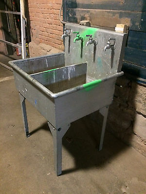 Architectural Salvage Industrial Galvanized Steel Utility Sink Double Sinks