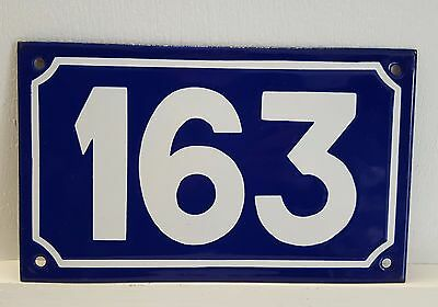 ANTIQUE STEEL ENAMEL HOUSE NUMBER SIGN Door plate plaque 163