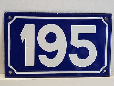 ANTIQUE STEEL ENAMEL HOUSE NUMBER SIGN Door plate plaque 195