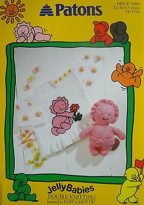 PATONS 5094 - GIRLS DK JELLYBABY SWEATER & TOY KNITTING PATTERN 18/24in