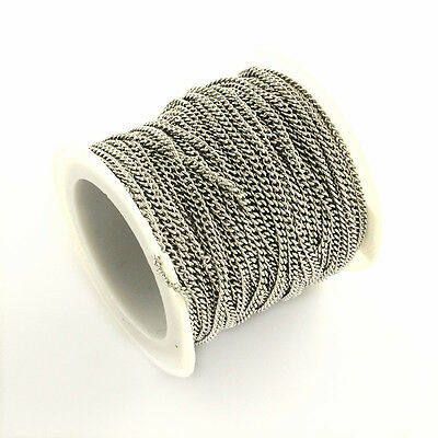 Wholesale 10 meters 2.4x1.9mm stainless steel twisted link chain in roll-OFF189