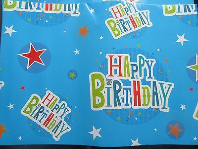 Wrapping Paper 2 Sheets Of Happy Birthday Gift Wrap & Tag Blue Unisex