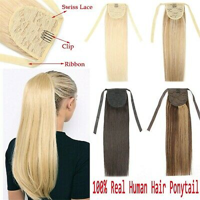 16''18''20'' 50g One Piece Ponytail Remy Hair Extension Clip In Real Human Hair