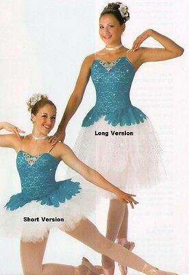 Poetic Dance Costume SHORT Turquoise Ballet Tutu Ballerina Clearance Adult Large