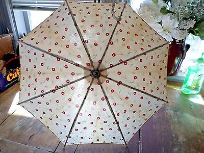 Vintage Red and White Cherry Print Child's or Small Parasol  Cherries