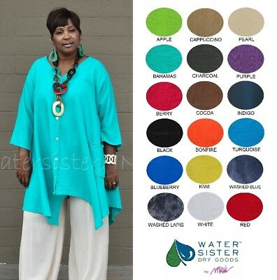 WATERSISTER Cotton Gauze  ARIANA Sharkbite CARDIE Top OS (M-1X/2X)  2018 COLORS