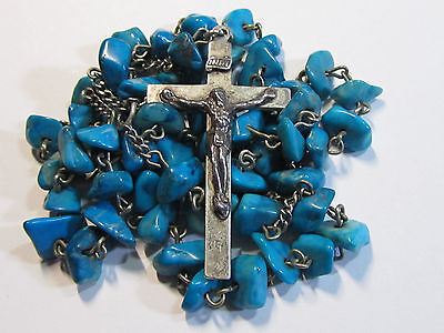 "† Scarce Antique Sterling Authentic Turquoise Nugget Bead Rosary Necklace 26"" †"