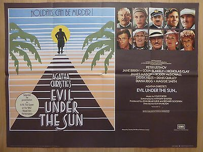 EVIL UNDER THE SUN (1982) - original UK quad film/movie poster, Agatha Christie