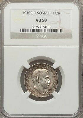 Italy / Italian Somaliland  1910-R  1/2 Rupia Silver Coin, Ngc Certified Au58
