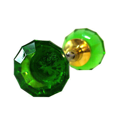 Door Knob GREEN Glass w Brass Ferrell (Pair) Vintage Style New Replica Hardware