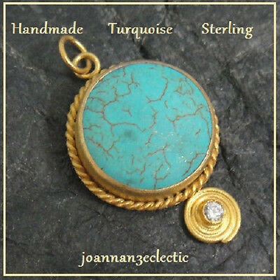 Pendant Under $20 New  Ancient Style Turquoise Yellow Gold Sterling Silver