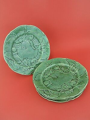 J ADAMS Green Majolica Waterlily and Leaf Plates Set of 4 1864-73