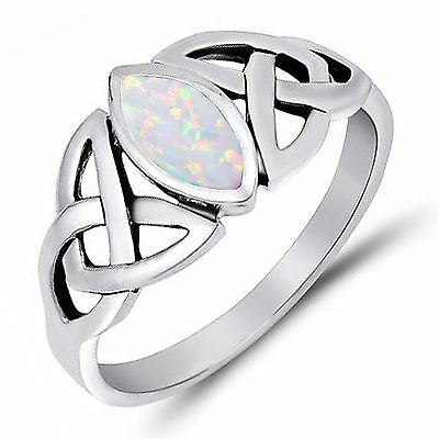 White Fire Opal Marquise Celtic Knot Genuine Sterling Silver Ring