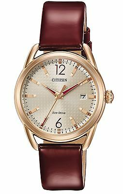 OXBLOOD Color CITIZEN WATCH ECO DRIVE FE6083-05P ROSE GOLD with DATE