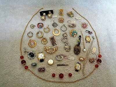 Costume Fashion Victorian Junk Drawer Earrings Necklace Watches Jewelry Lot