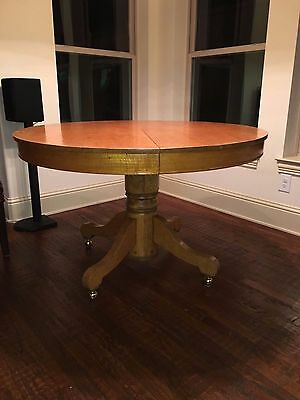 "Antique 48"" Round Tiger Oak Dining Table w/Leaf"