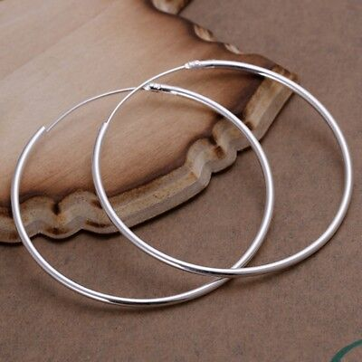 New Women Jewelry 925 Sterling Silver Plated Fashion Glossy Circle Hoop Earring