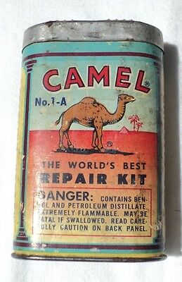 Vintage Camel Rubber Tire Repair Kit Advertising Tin w Cardboard Body Graphics