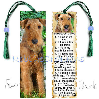 AIREDALE Terrier Large BOOKMARK Bead TASSEL Dog RULES Property Law Art Book Card