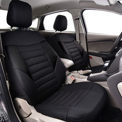 Universal Car Seat Covers black Front Airbag Breathable Fit Ford Nissan BMW safe