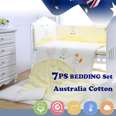 7pcs Baby Crib Bedding set Bumpers Quilt Pillow Cot Sheet Newborn Gift Yellow Ne