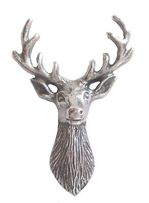 Stag's Head Red Deer Pin Badge Made in Polished English Pewter