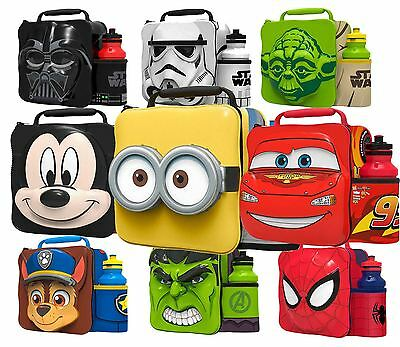 Thermal 3D Lunch Bag Box & Drink Bottle Set - Star Wars Avengers Cartoon