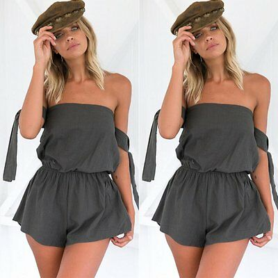 Summer Casual Women Off Shoulder Jumpsuit Short Playsuit Waist OnePiece Romper