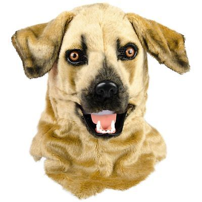 Dog Mask Full Head Faux Fur with Moving Mouth Party Fancy Dress Thumbs Up