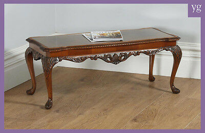 Antique Queen Anne Style Carved Burr Walnut & Glass Rectangular Coffee Table