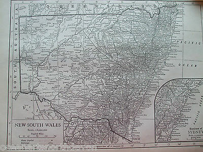 Antique Print Map Dated 1926 New South Wales Sydney Vintage Atlas Encyclopaedia