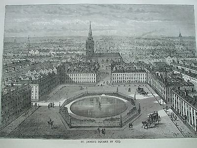 Antique Print C1875 St James's Square In 1773 Engraving London Old & New History