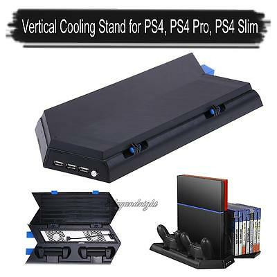 Vertical Stand Cooling Fan+Charging Docks+Disc Storage For PS4/PS4 Pro/PS4 Slim