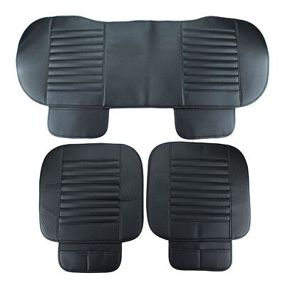 Universal PU leather Black Car Seat Cover Bamboo Pad Cushion Protector