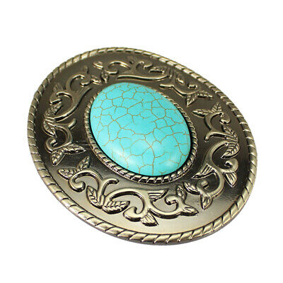 Womens Mens Native American Western Blue Turquoise Stone Belt Buckle Silver