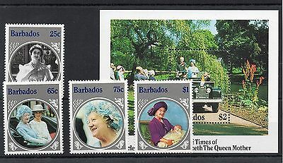 1985 BARBADOS Queen Mothers 85th BIRTHDAY Stamps SET 4v & MINI SHEET  Ref:X368