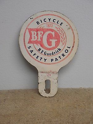 Rare Original BFGoodrich Tire Bicycle Safety Patrol License Plate Topper Day-Glo