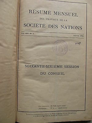 VINTAGE FRENCH BOOK 30s RESUME MENSUEL SOCIETE NATIONS UN UNITED GREEK STAMP