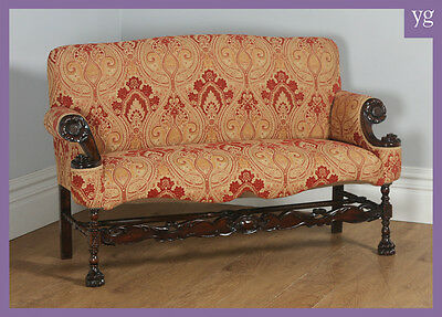 Antique French Normandy Walnut Paisley Upholstered Couch Settee Sofa Settle