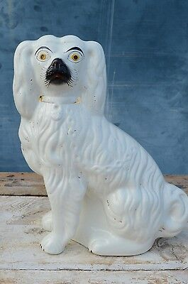 Antique Staffordshire Decorative Pottery Wally Dog Spaniel White Gold 30cm Tall