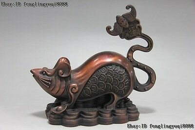 China Red Copper Bronze FengShui Wealth Coin Money Zodiac Mouse Rat mice Statue