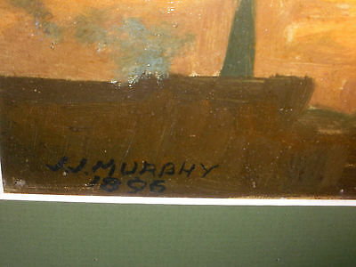 Antique 1896 J.J. MURPHY 19thc city at sunset oil board tonalist painting signed