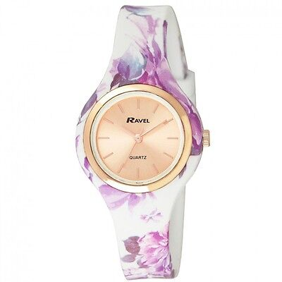 Ravel Ladies Girls Rosegold Dial White Lilac Floral Silicone Strap Watch .24f